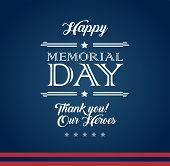 Vector Happy Memorial Day Blue Background With Text happy Memorial Day. Thank You! Our Heroes - Me poster