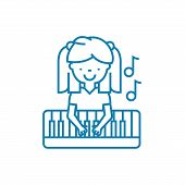 Musical Education Line Icon, Vector Illustration. Musical Education Linear Concept Sign. poster