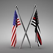 American flag and Firefighter flag - 3d render