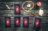 Tarot Cards On Fortune Teller Table. Future Reading. Divination Concept. poster