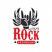 Rock Legendary Est. 1979 Logo, Design Element With Rock And Roll Hand Gesture And Wings Can Be Used  poster