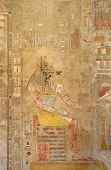 stock photo of mortuary  - ancient painting inside the Mortuary Temple of Hatshepsut in Egypt - JPG