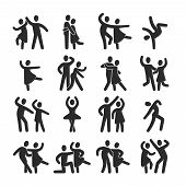 Happy Dancing People Icons. Modern Dance Class Vector Silhouette Symbols. Illustration Of Dance Peop poster