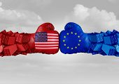Europe Usa Trade Fight And Economic War With American Tariffs As Two Opposing Fist Freight Container poster