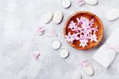 Aromatherapy, Spa, Beauty Background With Massage Pebble, Perfumed Flowers Water And Candles On Ston poster