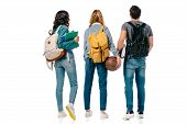 Back View Of Multicultural Students With Backpacks And Basketball Ball Isolated On White poster