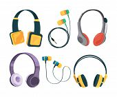 Vector Collection Set Of Different Headphones. Illustrations In Cartoon Style. Equipment Headset And poster