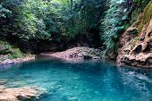 Beautiful View Of Small Lagoon With Blue Water In Tropical Forest Of Samana, Dominican Republic poster