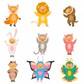 Carnival Kids Clothes. Costumes Of Funny Cartoon Animals. Funny Childhood Clothing Pig And Dog, Cat  poster