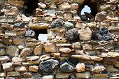 stock photo of calatabiano  - stone wall of ancient castle close up Sicily - JPG