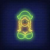 Oktoberfest Waitress On Brick Background. Neon Style Vector Illustration. Bavaria, Germany, Celebrat poster