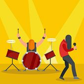 Rock Band At Concert Icon. Flat Illustration Of Rock Band At Concert Vector Icon For Web Design poster