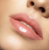 Perfect natural lip makeup. Close up macro photo with beautiful female mouth. Plump full lips. Perfe poster