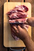 Overhead View Of Raw Piece Of Pork On Wooden Background. Piece Of Fresh Boneless Pork, Neck Part Or  poster