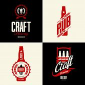Modern Craft Beer Drink Vector Isolated Logo Sign For Bar, Pub, Brewery Or Brewhouse. Premium Qualit poster