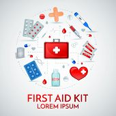 First Aid Kit Realistic Circular Composition Of Medical Emergency Treatment Supplies With Antiseptic poster