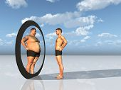 stock photo of skinny fat  - Man sees other self in mirror - JPG