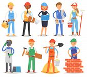 Builder Vector Constructor People Character Building Construction For Newbuild Illustration Set Of W poster