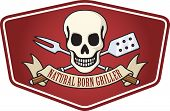 picture of skull crossbones flag  - Barbecue logo based on the classic skull and crossbones pirate flag - JPG
