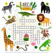 Crossword Africa Animals. Kids Zoo African Crossword For School Children, Words Searching Game Vecto poster