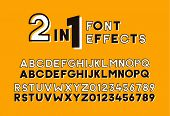 2 In 1 Font Effects. Set Of Two Sans Serif Alphabet Graphic Styles. Outline And Bold Shadow. Vector  poster