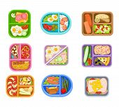 Set Of Lunch Boxes Plastic Trays With Delicious Meal. Appetizing Food. Salmon Fish, Fresh Vegetables poster