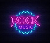 Rock Music Vector Neon. Rock Music Neon Sign, Bright Night Sign, Light Banner, Neon Night Live Music poster