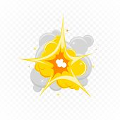 Comic Book Explosion Effect With Smoke. Explosion Icon In Flat Style. Cartoon Effect Boom, Explode F poster