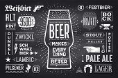 Poster Or Banner With Text Beer Makes Everything Better And Names Types Of Beer. Black-white Chalk G poster