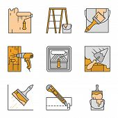 Construction Tools Color Icons Set. Paint Roller, Scaffolding Ladder, Bucket With Brush, Hot Air Gun poster