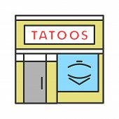 Tattoo Studio Facade Color Icon. Tattoo Parlour Exterior. Isolated Vector Illustration poster