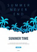 Summer Tropical Background With Palms. Summer Placard Poster Flyer Invitation Card. Summer Time. Vec poster