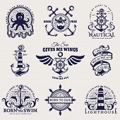 Set Of Nautical Emblems With Anchors, Steering Wheels, Lighthouses, Seaman, Sea Animals And Other Ma poster