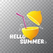 Vector Hello Summer Beach Party Flyer Design Template With Fresh Lemon Isolated On Transparent Backg poster