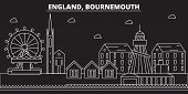 Bournemouth Silhouette Skyline. Great Britain - Bournemouth Vector City, British Linear Architecture poster