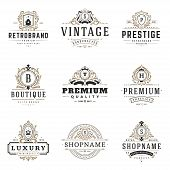 Luxury Monogram Logos Templates Vector Objects Set For Logotype Or Badge Design. Trendy Vintage Roya poster