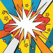 Pop Art Styled Speech Bubble Template For Your Design. Comics Pop-art Style Empty Bang Shape On A Mu poster