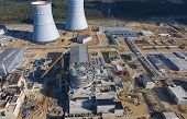 Aerial Survey Of A Nuclear Power Plant Under Construction. Installation And Construction Of A Power  poster