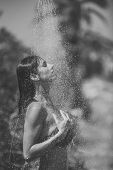 Girl Powered. Issues Face Girls. Water Drops Falling On Attractive Woman. Young Beautiful Brunette G poster