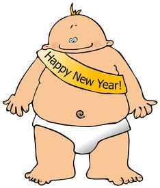 stock photo of new years baby  - This illustration depicts a baby with a banner across its chest - JPG