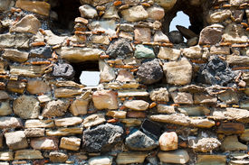 picture of calatabiano  - stone wall of ancient castle close up Sicily - JPG