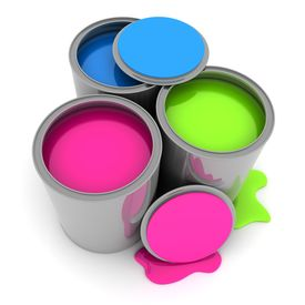 foto of paint pot  - Tin with Paint on white background  - JPG