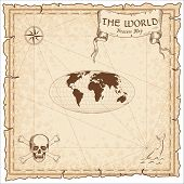 World Treasure Map. Pirate Navigation Atlas. Equal-area, Pseudocylindrical Mollweide Projection. Old poster