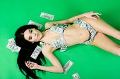 Body Trade. Business Success. Investment In Yourself. Sexy Woman In Summer Swimsuit In Currency. Dol poster