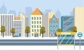 Beautiful Streets Big City, Vector Illustration. On Flat Asphalt Road, There Is Stop For Public Tran poster