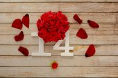 Wooden Background With Petals, Flowers And Wooden Numbers Of Dated 14 February. The Concept Of Valen poster