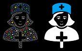 Glossy Mesh Catholic Lady Doctor Icon With Glare Effect. Abstract Illuminated Model Of Catholic Lady poster