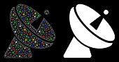 Bright Mesh Radio Telescope Icon With Lightspot Effect. Abstract Illuminated Model Of Radio Telescop poster