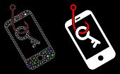 Glossy Mesh Smartphone Key Phishing Icon With Lightspot Effect. Abstract Illuminated Model Of Smartp poster