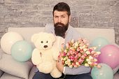 Man Well Groomed Wear Tuxedo Bow Tie Hold Flowers Tulips Bouquet And Big Teddy Bear Toy. Invite Her  poster